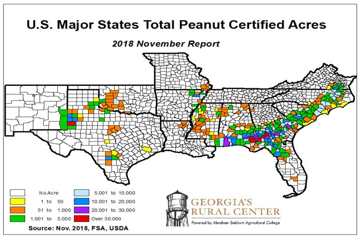total peanut certified acres